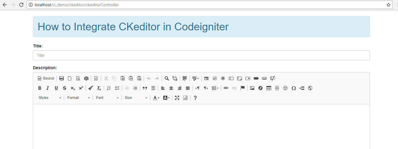 How to Integrate CKEditor in Codeigniter using Bootstrap