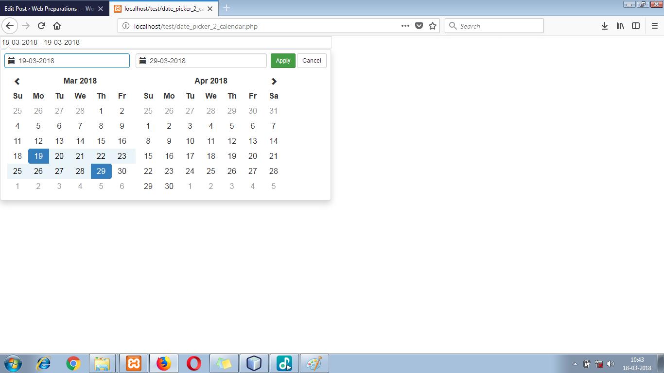 Bootstrap Date Range Picker with 2 Months Calendar