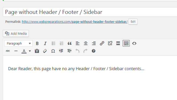 Page without Header / Footer / Sidebar